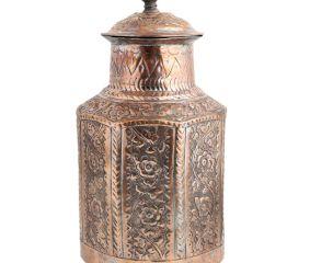 Copper Storage Box Chased Leafy  Design Knob Finial Lid