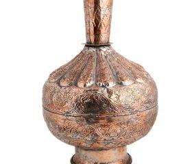 Islamic Copper Repousse Floral Surahi Or Pot
