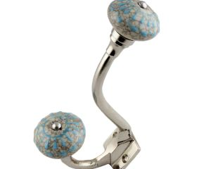 Turquoise Wheel Crackle Ceramic Silver Iron Hook