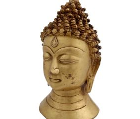 Brass Buddha Head Statue Showpiece