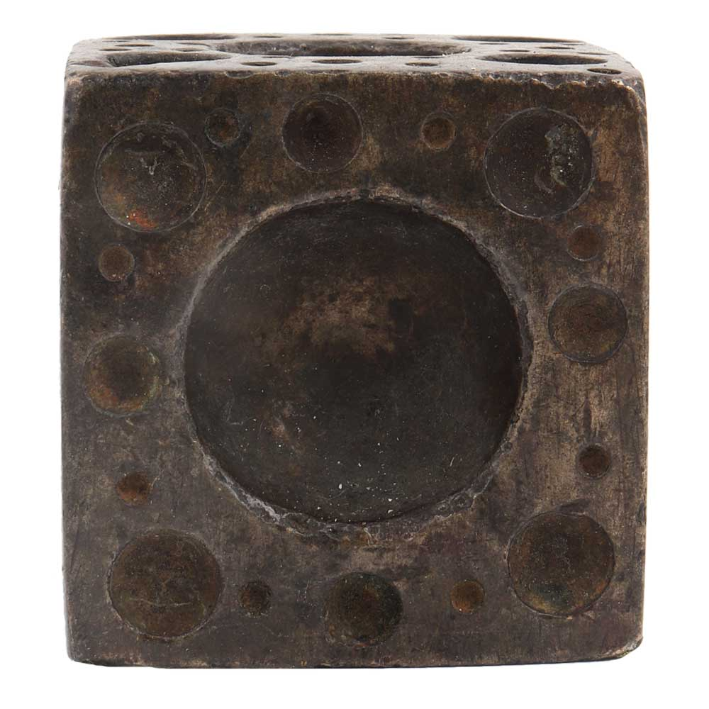 Old Brass Six Sided Dice Paper Weight
