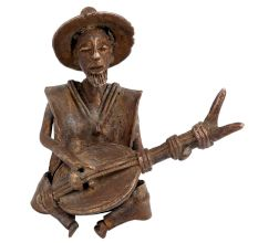 Brass Authentic African Musician Playing Guitar