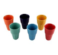 Decorative Handcraft Ceramic Multicolour Tea Cups in Set of 6