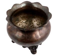 Brass Planter Pot With Stand In Silver Polish