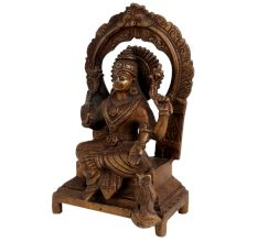 Engraved Brass Sitting Statue Blessing Pose With Owl