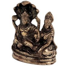 Brass Lord Vishnu With Goddess Laxmi resting On Sheshnag Showpiece