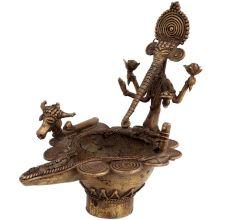Dhokra Brass Ganpati Nandi Head Oil Lamp