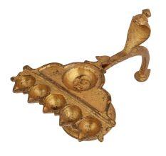 Brass Five Small And Round Diya Lamp Snake Handle