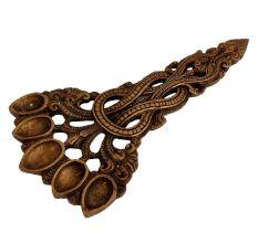 Decorative Oil Lamp Five Wicks Solid Brass Deepak Diya
