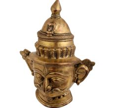 Brass Shiva Head Statue With Moustache Wall Hanging