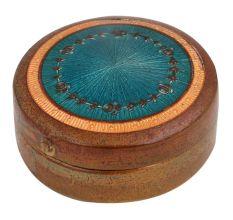 Round Blue Painted Copper Storage Box