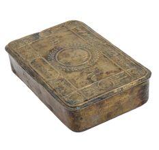 Brass Rectangular Embossed Cigar Box English Art
