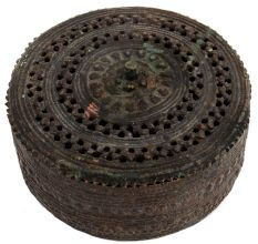 Round Brass Jali Design Jewelry Box