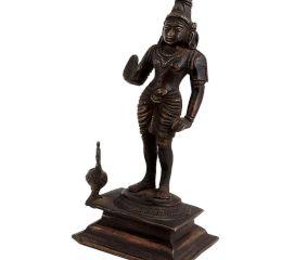 Brass Kartikey With Peacock Religious Statue