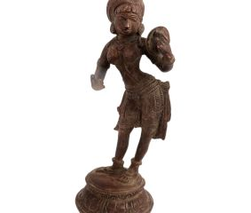 Brass Lady Statue With Handheld Mirror