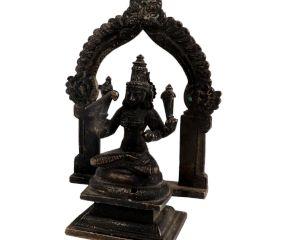 Brass Figurine Sitting In Prabhavali And Bird