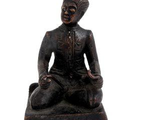 Brass English Gentlemen Sitting Statue Holding Twisted rods
