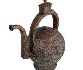 Copper Islamic Calligraphy Copper Tea Pot With Handles Box