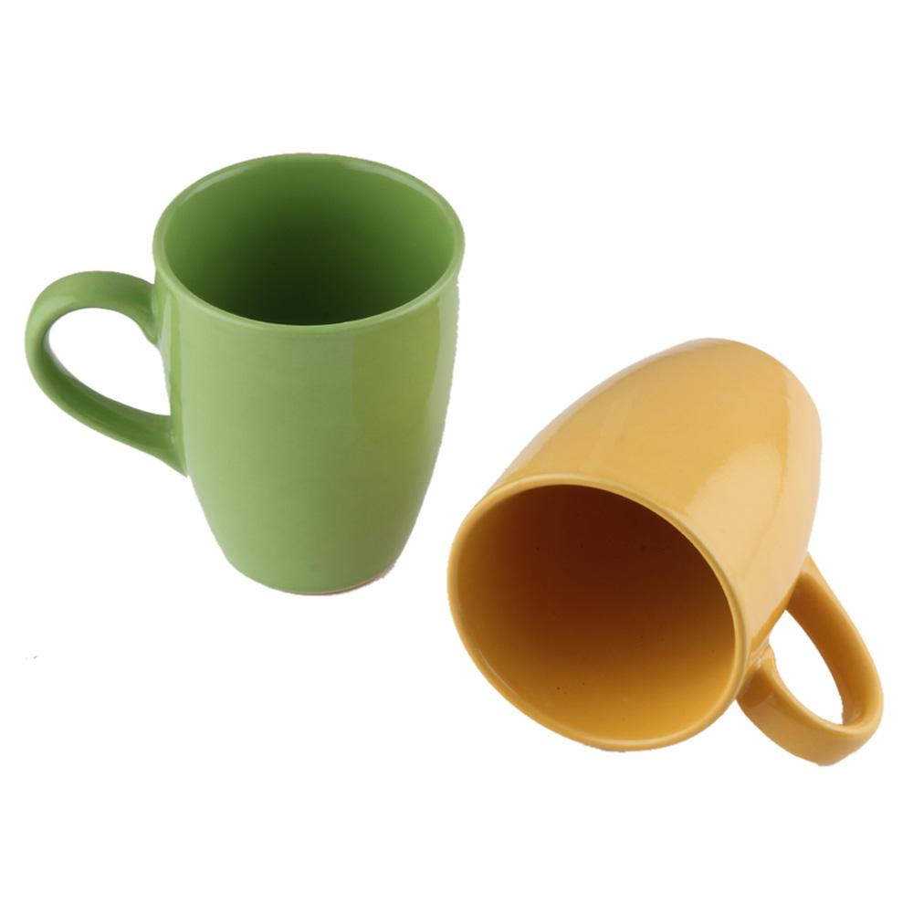 Designer Handcraft Ceramic Green & Yellow Coffee Mug In Set of 2