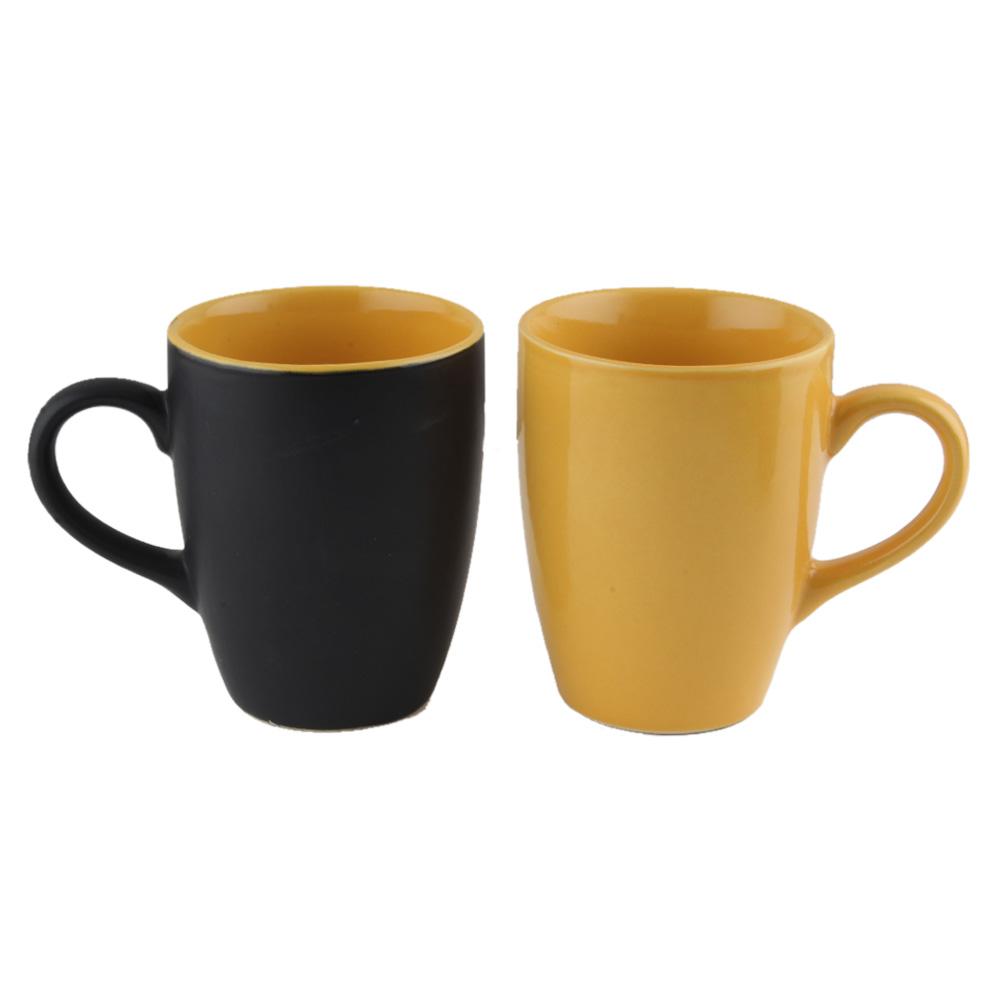 Decorative Handcraft Ceramic Black & Yellow Coffee Mug in Set Of 2