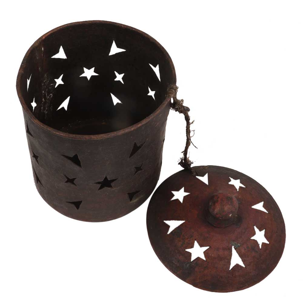 Copper Candle stand carved Star Arrow Design  With Lid