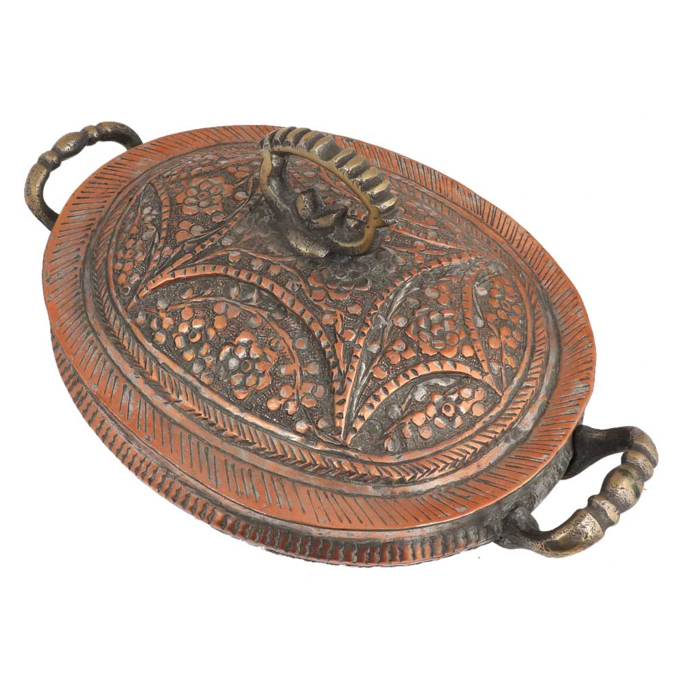 Copper Serving Bowl Engraved Floral And Leafy Design