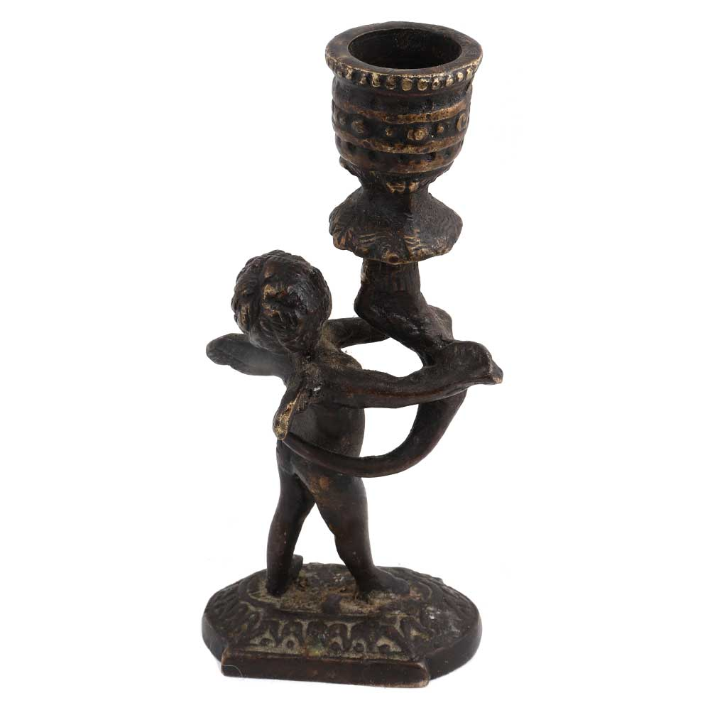 Brass Cherub Holding Candlestick Christmas Decoration
