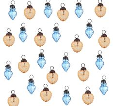 Amber Slate Blue Combo Glass Tiny Christmas Hanging Set of 25