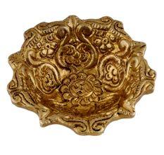 Hindu Brass Oil Lamp Diya Engraved Floral Swastika Diwali Decoration