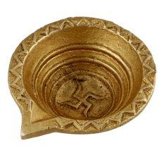 Brass Diya Oil Lamp Swastika Diwali Decoration