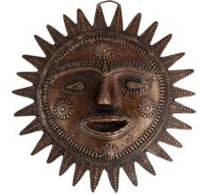 Brass Tribal Sun Face Wall Hanging