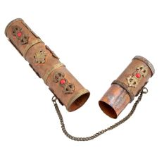 Cylindrical Scroll Case Message Box Dorje Vajra Motif In Copper And Brass