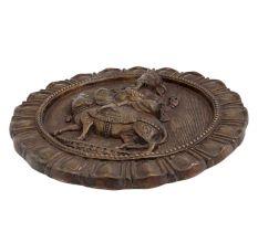 Brass Ganesha On Mooshak Round Wall Hanging
