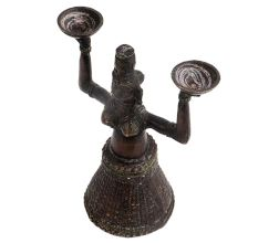 Brass Gujarat Tribal Women Holding Two Bowls Candle Holder