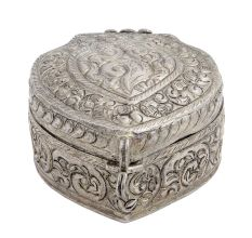 Heart Shaped Copper Box Engraved With Silver Polish