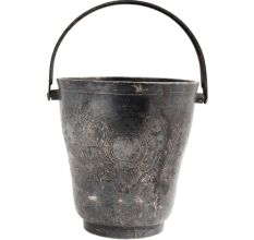 Brass Bucket With Floral Pattern Handle And Silver Finish