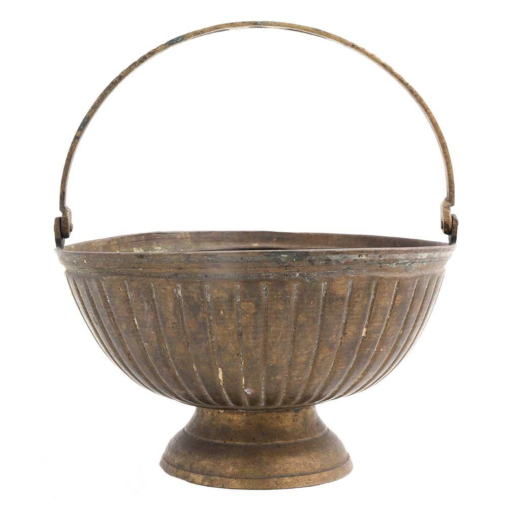 Round Fluted design Flower Bucket with Handle