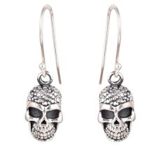 Human Skull 92.5 Sterling Silver Halloween Earrings