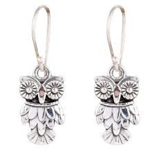 Fashionable Owl Halloween 92.5 Sterling Silver Earrings