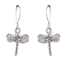 92.5 Sterling Silver Dragon Fly Hoop Dangle Earrings