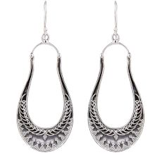 92.5 Sterling Silver Long Classic  Dangle Earrings