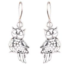 Owl Charm 92.5 Sterling Silver Earrings