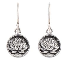 Lotus Flower Round 92.5 Sterling Silver Earrings