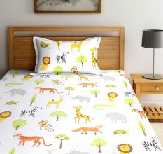 SWHF Chic Home Kids 180 TC Cotton Single Bedsheet with One Pillow Covers (Zoo)