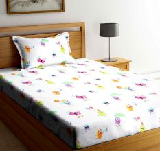 SWHF Chic Home Kids 180 TC Cotton Single Bedsheet with One Pillow Covers (Monsters Hunt-1)