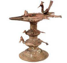 Traditional Peacock Oil lamp Dhokra Metal Tribal Art