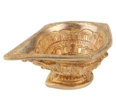 Brass Kuber Diya Leaves  Oval Base Worship Lamp