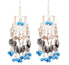 Boho Gypsy Style Multicolored Sterling Silver Chandelier Earrings