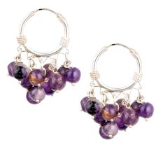 Purple Round  Stone Bead Nuggets Sterling Silver Hoop Earrings