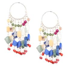 Colorful Stone Bead Sterling Silver Bali Hoop Earrings